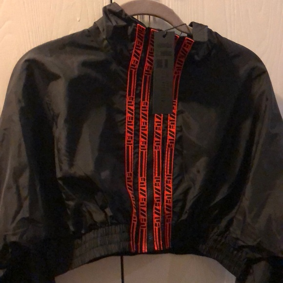 7327f15bca95 Lf cropped windbreaker with lf tape down the front